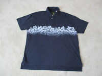 Orvis Button Up Hawaiian Shirt Adult Extra Large Blue Gray Floral Casual Camp
