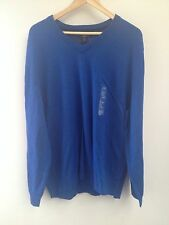 Club Room Estate Wool Sweater 2xl Xxl Mens Blue Vneck Nwt (614)