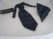 (A) Tartan Black Watch BOYS Polyester Scrunchie Ruche Tie Cravat and Hankie Set