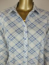 SPORTSCRAFT  BLUE PLAID SHIRT BUTTON DOWN BLOUSE TOP TUNIC 10
