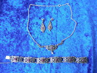 Fine, Antique Jewelry Set__835 SILVER_with Amethyst__Necklace , Bracelet,