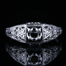 Art Nouveau Antique Fine Jewelry Round 3mm Semi Mount Sterling Silver 925 Ring