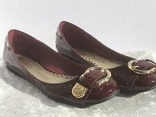 NEW Juicy Couture Port Wine Patent Leather Gold Buckle Ballet Flats Sz 8.5 M