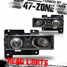 For GMC Cheverolet C10 Truck Halo Clear Projector Lens Black Housing Head Light