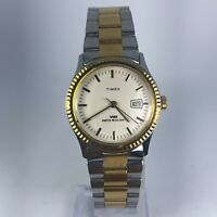 Vintage Timex Mens Wind Up Two Tone Stainless Steel Band Date Indicator watch