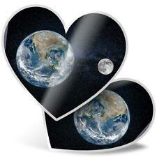 2 x Heart Stickers 10 cm - Earth & Moon Planet Space Globe  #21483