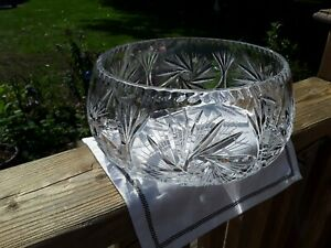 Large Lead Cyrstal Round Bowl With Pinwheel Design. Collectibles.