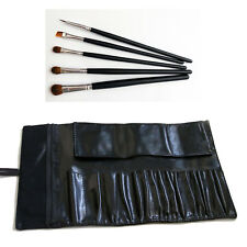 Black Faux Leather Cosmetic Bag Case Holder Pouch Roll W/ 5pc Eye Makeup Brush