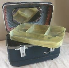 Vintage American Tourister Tri Taper Train Makeup Case Blue Hard Luggage 1960s