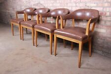 Edward Wormley for Dunbar Janus Collection Leather and Mahogany Dining Chairs