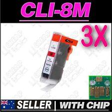 3x Magenta Ink for Canon CLI8M iP5200 iP5200R iP5300 iP6600D iP6700D PRO9000