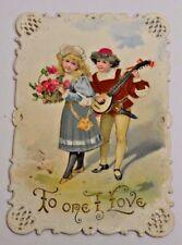 Antique Valentine Card 1905 Victorian Cute Girl Boy Love Serenade Mandolin RARE