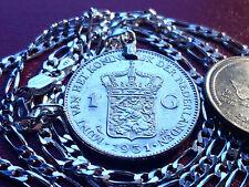 "1931 Netherlands Dutch Lion 720 Silver Gulden Pendant w 24"" Italian Silver Chain"