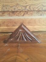 Vintage Wood Napkin Holder Carved Design