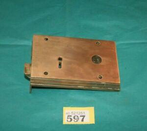 Antique Heavy Copper  Door Rim Lock reclaimed  ref 597