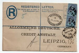 1890 REG.LETTER to GERMANY PERFINNED STAMPS