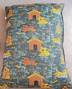 Dog Bed/Cushion  Size 70cmX92cm  Colour Green/Black  Hardly used.