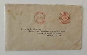 1928 Metered Cancel 3c Toronto to Maryland State Library Court of Appeals Maryla