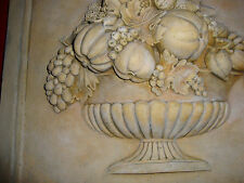 Fruit Basket Wall plaque backsplash stone tile kitchen decor reliev ceramic art