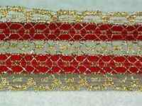 "Gorgeous GOLD Metallic & RED Christmas RIBBON 1 ½"" wide 1 yd"