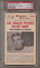PSA 8 1960 NU-CARD BASEBALL  #70 SAL MAGLIE PITCHES NO-HIT GAME
