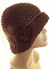 New NWT Vintage Style Cloche Hat Satin Velvet Feathers Faux Suede 20s Brown