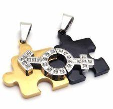 CADENA Compañeros Puzzle ACERO inox. 2 COLGANTE PAREJA + 2 Oro Negro AMOR 2