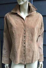 Coldwater Creek Women Jacket Coat Sz L Beige 100% Suede Leather Snap Front Lined