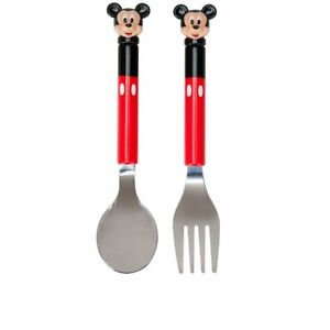 Mickey Mouse Fork and Spoon Set Meal Time Magic NEW