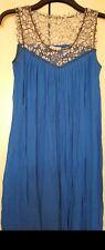 Erotokritos electric blue swing dress grey floral lace neckline 10-12 bubble hem