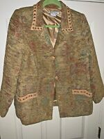Nancy Bolen City Girl Lined Tapestry Blazer Jacket Leather Rope Trim Women's L