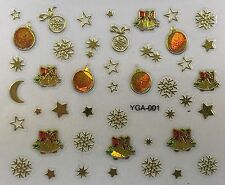 Nail Art 3D Decal Stickers Iridescent Gold Christmas Bells Stars Ornament YGA001