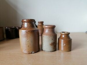 3 different sized Old brown glazed stoneware Bottles Job Lot