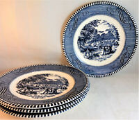 Currier and Ives Blue Bread & Butter Plates (Set of 4) Royal (USA) Harvest