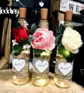 Personalised Name Light Up Bottle With Flowers Gift Bridesmaid Birthday