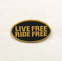 Live Free Ride Free Black Art Badge Iron on Sew on Embroidered Patch appliqué