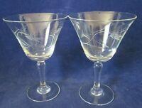 Vintage Sasaki Noritake Wheat Pattern Wine Goblet Smooth Bulbous Stem Two EUC