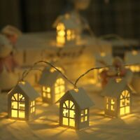 Christmas LED Light Wooden House Decoration Xmas Tree Hanging Pendant Ornaments