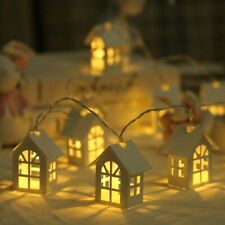 10 LED Light Wood House Christmas Tree Hanging Ornaments Decoration Tool New