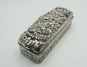 Antique Tiffany & Co. Sterling Silver Repousse Lipstick Holder Casket