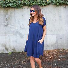 Women's Plain Boyfriend Short Sleeve With Pocket Casual A-Line Mini Dress Tunic