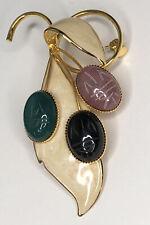 Vintage Enamel Leaf Gold Tone Scarab Brooch Pin