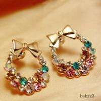 Women Christmas Lady Crystal Rhinestone Cute Ear Stud Earrings Jewelry