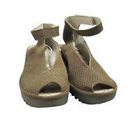 Fly London Yala Perf Peep Toe Platform Sandals Size 37 US 7 Suede Khaki