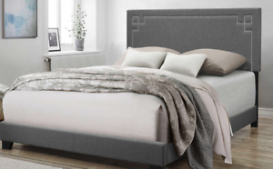Contemporary Gray Upholstered King Size Bed