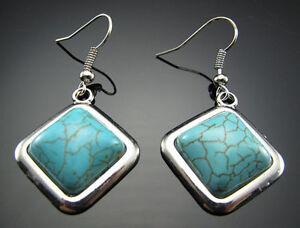 New 18KGP Tibetan Silver Encased Turquoise Square Charm Dangle Drop Earrings