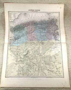 1903 Antique Map of Algeria Tunisia North Africa Old Hand Coloured Engraving