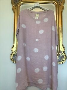 MADE IN ITALY Pink & White POLKA DOT 100% Linen OVERSIZE Tunic Dress SIZE L NEW