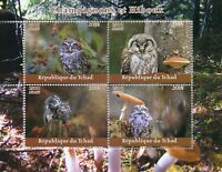 Chad 2018 MNH Mushrooms & Owls 4v M/S Champignons Owl Fungi Nature Birds Stamps