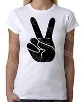 Peace Hand Sign - Womens White T-Shirt - Geek Retro Fun Kitsch Cute